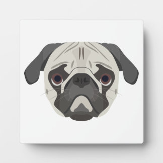 Illustration dogs face Pug Plaque