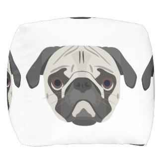 Illustration dogs face Pug Pouf
