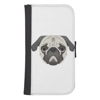 Illustration dogs face Pug Samsung S4 Wallet Case