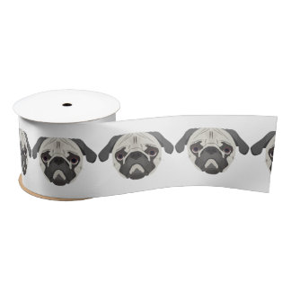 Illustration dogs face Pug Satin Ribbon