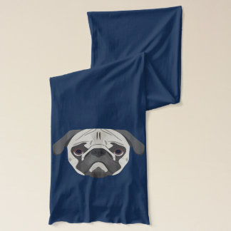 Illustration dogs face Pug Scarf