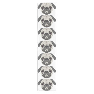 Illustration dogs face Pug Short Table Runner