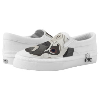 Illustration dogs face Pug Slip-On Sneakers