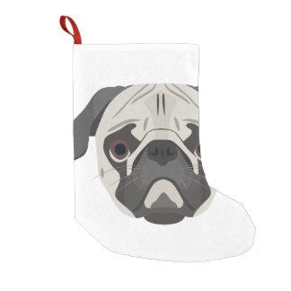 Illustration dogs face Pug Small Christmas Stocking