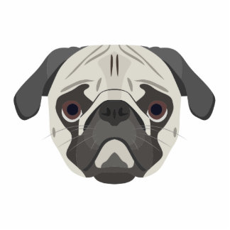 Illustration dogs face Pug Standing Photo Sculpture
