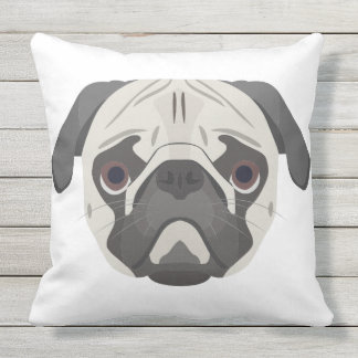 Illustration dogs face Pug Throw Pillow