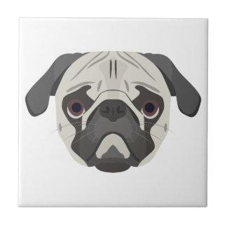 Illustration dogs face Pug Tile