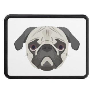 Illustration dogs face Pug Trailer Hitch Cover