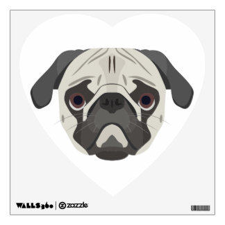 Illustration dogs face Pug Wall Decal
