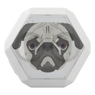 Illustration dogs face Pug White Bluetooth Speaker