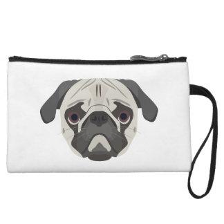 Illustration dogs face Pug Wristlet