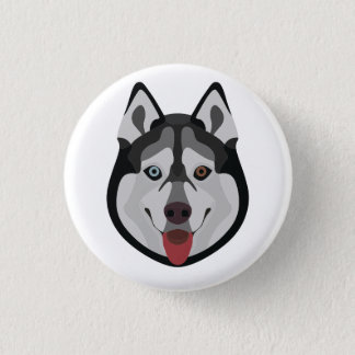 Illustration dogs face Siberian Husky 1 Inch Round Button