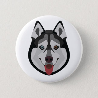 Illustration dogs face Siberian Husky 2 Inch Round Button