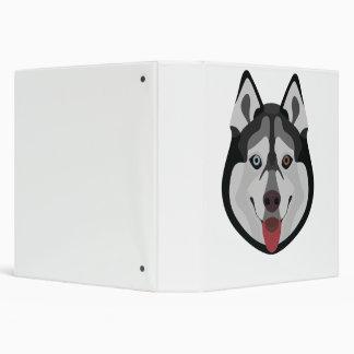 Illustration dogs face Siberian Husky 3 Ring Binder