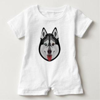 Illustration dogs face Siberian Husky Baby Romper