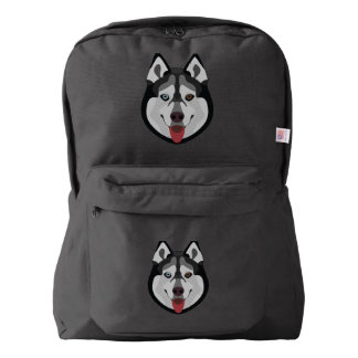 Illustration dogs face Siberian Husky Backpack