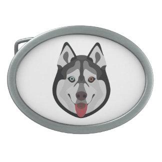Illustration dogs face Siberian Husky Belt Buckles