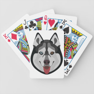 Illustration dogs face Siberian Husky Bicycle Playing Cards