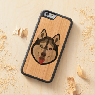 Illustration dogs face Siberian Husky Carved Cherry iPhone 6 Bumper Case
