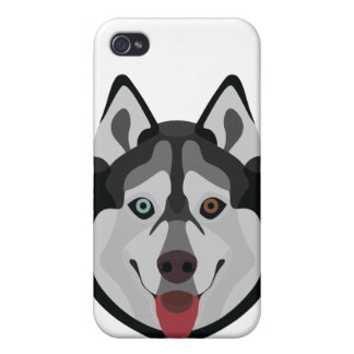 Illustration dogs face Siberian Husky Case For The iPhone 4