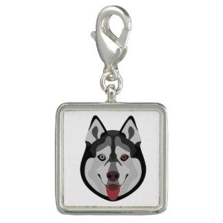Illustration dogs face Siberian Husky Charm