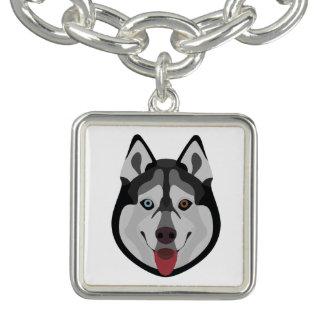 Illustration dogs face Siberian Husky Charm Bracelet