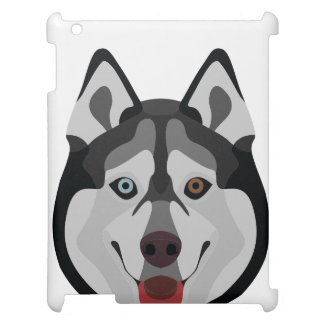 Illustration dogs face Siberian Husky Cover For The iPad 2 3 4