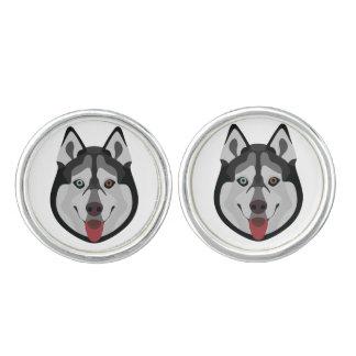 Illustration dogs face Siberian Husky Cufflinks