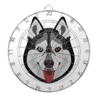 Illustration dogs face Siberian Husky Dartboard