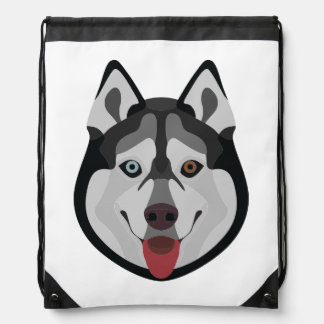 Illustration dogs face Siberian Husky Drawstring Bag