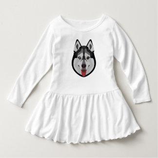 Illustration dogs face Siberian Husky Dress