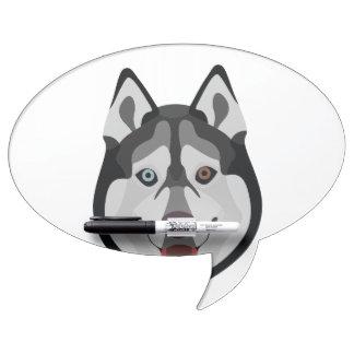 Illustration dogs face Siberian Husky Dry Erase Board