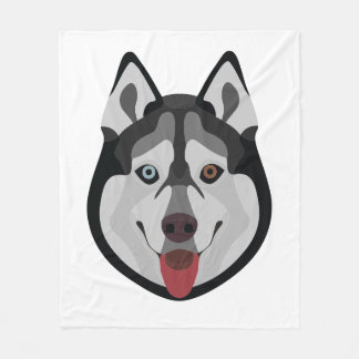 Illustration dogs face Siberian Husky Fleece Blanket