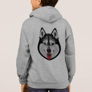 Illustration dogs face Siberian Husky Hoodie