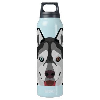 Illustration dogs face Siberian Husky Insulated Water Bottle