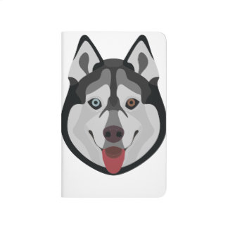 Illustration dogs face Siberian Husky Journal