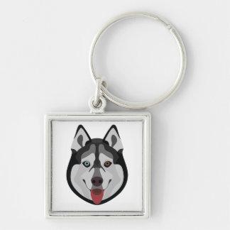 Illustration dogs face Siberian Husky Keychain