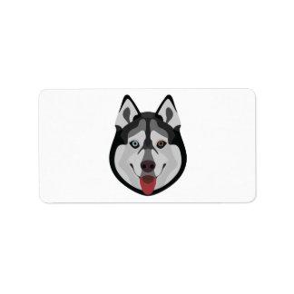 Illustration dogs face Siberian Husky Label