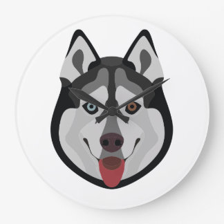 Illustration dogs face Siberian Husky Large Clock