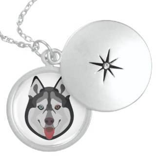 Illustration dogs face Siberian Husky Locket Necklace