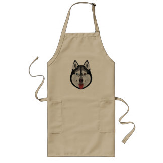Illustration dogs face Siberian Husky Long Apron