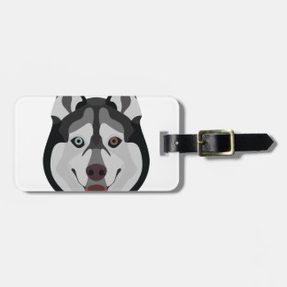 Illustration dogs face Siberian Husky Luggage Tag
