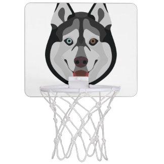 Illustration dogs face Siberian Husky Mini Basketball Hoop