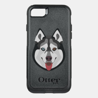 Illustration dogs face Siberian Husky OtterBox Commuter iPhone 8/7 Case