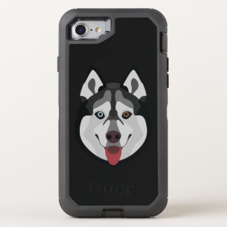 Illustration dogs face Siberian Husky OtterBox Defender iPhone 8/7 Case