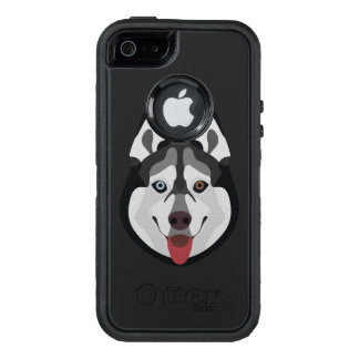 Illustration dogs face Siberian Husky OtterBox Defender iPhone Case