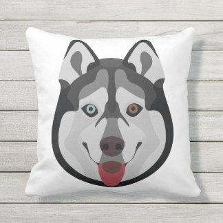 Illustration dogs face Siberian Husky Outdoor Pillow