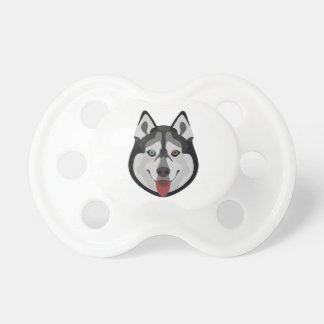 Illustration dogs face Siberian Husky Pacifier