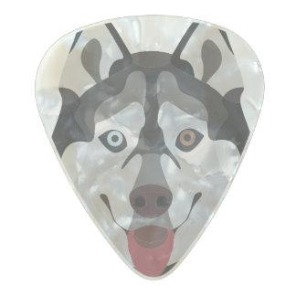 Illustration dogs face Siberian Husky Pearl Celluloid Guitar Pick