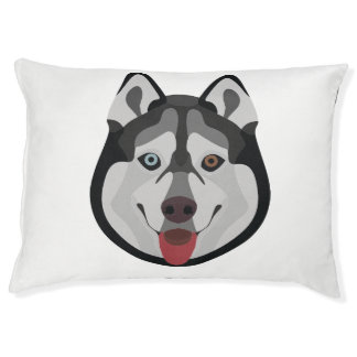 Illustration dogs face Siberian Husky Pet Bed